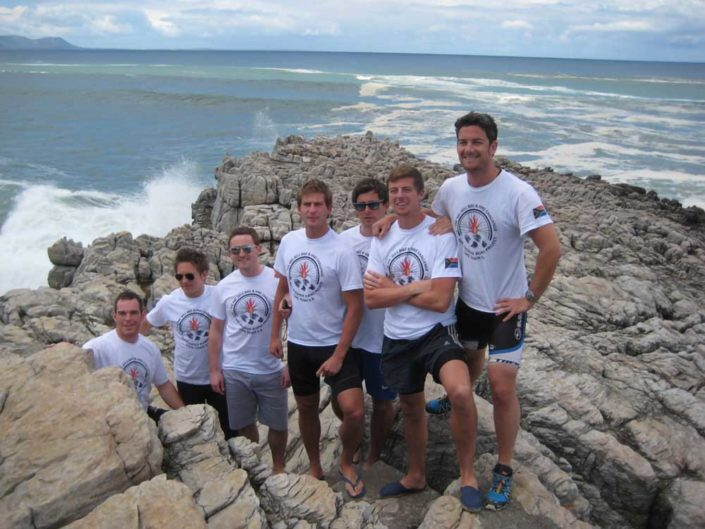 ABC bike and hike challenge - The lads pose for a group photo by the ocean.
